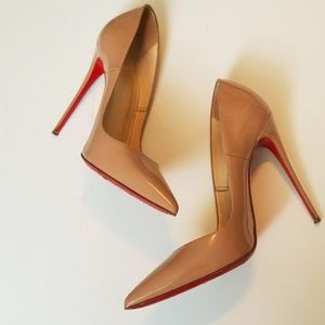 120mm Christian Louboutin nude patent heel